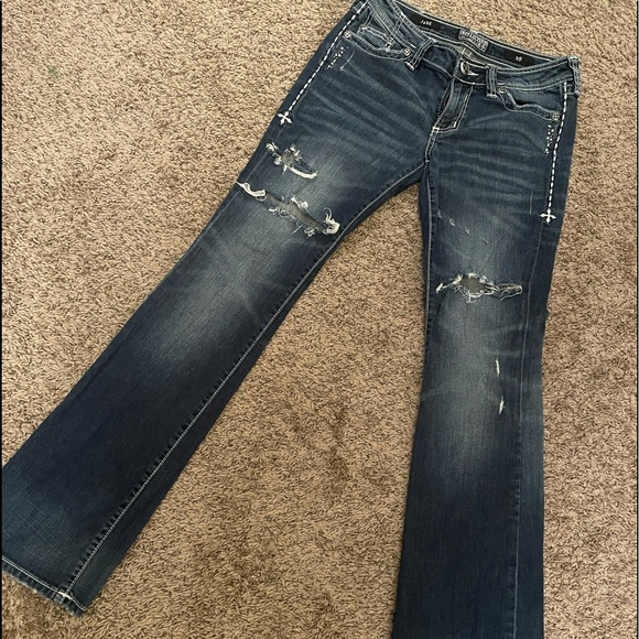 Affliction Size 28 Jade Distressed Bootcut Jeans